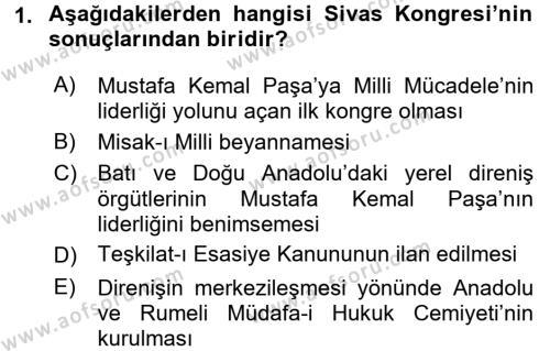 Uluslararası İlişkiler Bölümü 2. Yarıyıl Türk Siyasal Hayatı Dersi 2016 Yılı Bahar Dönemi Ara Sınavı 1. Soru