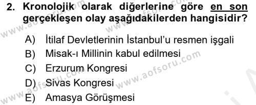 Uluslararası İlişkiler Bölümü 2. Yarıyıl Türk Siyasal Hayatı Dersi 2016 Yılı Bahar Dönemi Ara Sınavı 2. Soru