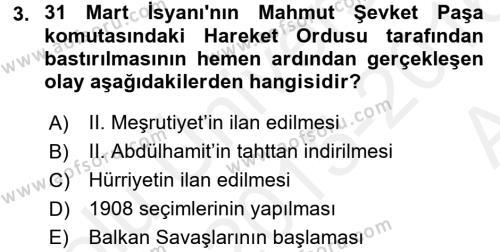 Türk Siyasal Hayatı Dersi 2015 - 2016 Yılı Ara Sınavı 3. Soru
