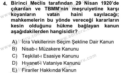 Kamu Yönetimi Bölümü 6. Yarıyıl Türk Siyasal Hayatı Dersi 2016 Yılı Bahar Dönemi Ara Sınavı 4. Soru