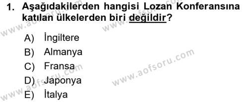 Yerel Yönetimler Bölümü 2. Yarıyıl Türk Siyasal Hayatı Dersi 2016 Yılı Bahar Dönemi Dönem Sonu Sınavı 1. Soru