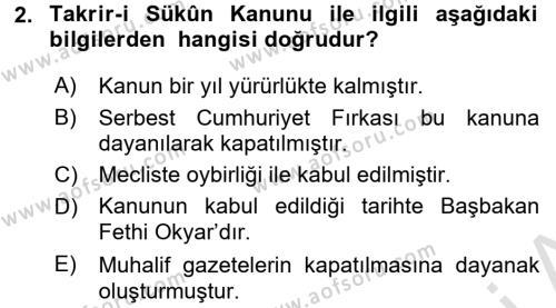Yerel Yönetimler Bölümü 2. Yarıyıl Türk Siyasal Hayatı Dersi 2016 Yılı Bahar Dönemi Dönem Sonu Sınavı 2. Soru