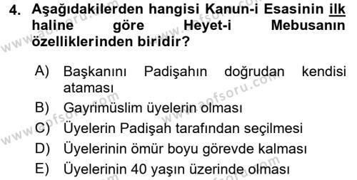 Yerel Yönetimler Bölümü 2. Yarıyıl Türk Siyasal Hayatı Dersi 2016 Yılı Bahar Dönemi Dönem Sonu Sınavı 4. Soru