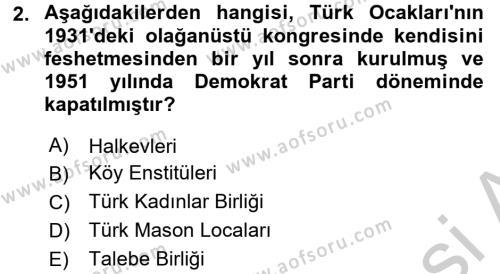 Türk Siyasal Hayatı Dersi 3 Ders Sınavı Deneme Sınav Soruları 2. Soru