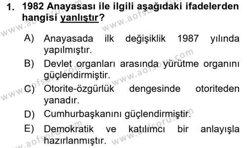 Türk Siyasal Hayatı Dersi 2016 - 2017 Yılı (Vize) Ara Sınav Soruları 1. Soru