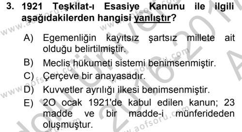 Türk Siyasal Hayatı Dersi 2016 - 2017 Yılı (Vize) Ara Sınav Soruları 3. Soru