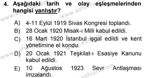 Türk Siyasal Hayatı Dersi 2016 - 2017 Yılı (Vize) Ara Sınav Soruları 4. Soru