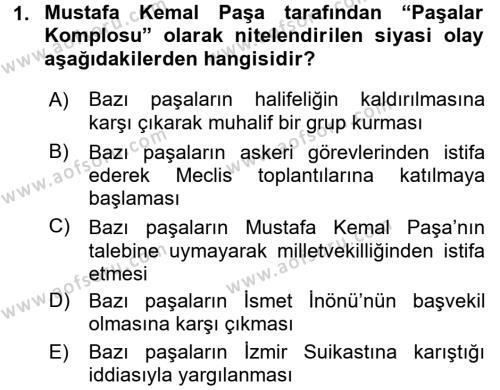 Türk Siyasal Hayatı Dersi 2017 - 2018 Yılı (Vize) Ara Sınav Soruları 1. Soru