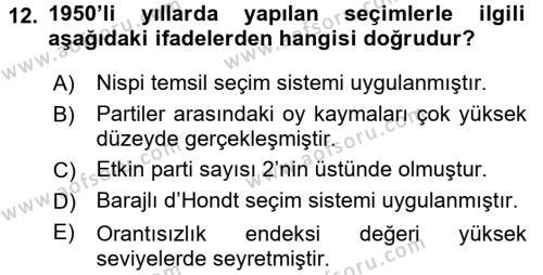 Türk Siyasal Hayatı Dersi Ara Sınavı Deneme Sınav Soruları 12. Soru