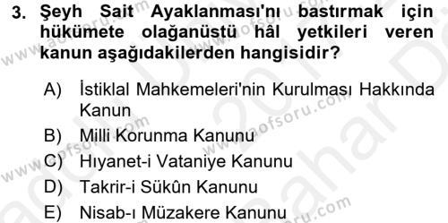 Türk Siyasal Hayatı Dersi 2017 - 2018 Yılı (Vize) Ara Sınav Soruları 3. Soru