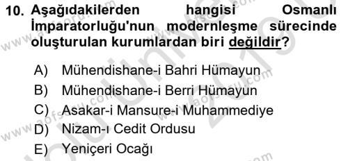 Türk Siyasal Hayatı Dersi 3 Ders Sınavı Deneme Sınav Soruları 10. Soru