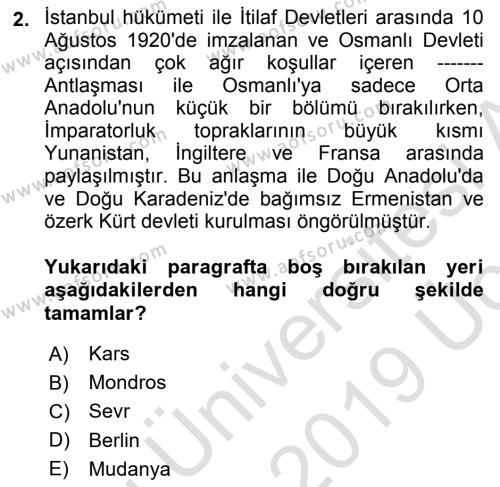 Türk Siyasal Hayatı Dersi 2018 - 2019 Yılı 3 Ders Sınav Soruları 2. Soru