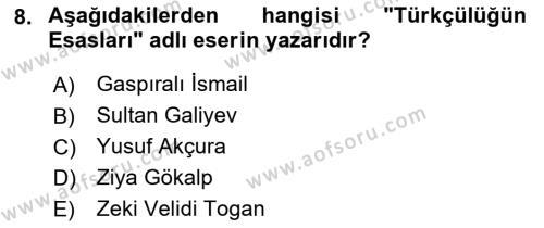 Türk Siyasal Hayatı Dersi 3 Ders Sınavı Deneme Sınav Soruları 8. Soru