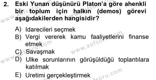 Kamu Yönetimi Bölümü 3. Yarıyıl Siyaset Bilimi Dersi 2013 Yılı Güz Dönemi Ara Sınavı 2. Soru