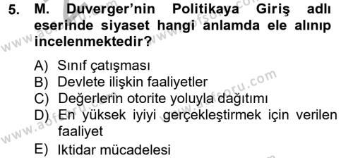 Kamu Yönetimi Bölümü 3. Yarıyıl Siyaset Bilimi Dersi 2013 Yılı Güz Dönemi Ara Sınavı 5. Soru