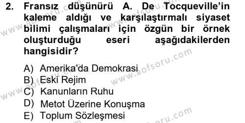 Siyaset Bilimi Dersi 2013 - 2014 Yılı Ara Sınavı 2. Soru