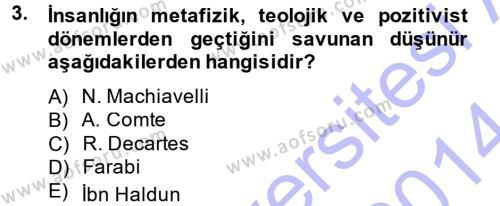 Siyaset Bilimi Dersi 2013 - 2014 Yılı Ara Sınavı 3. Soru