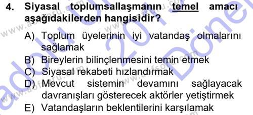 Siyaset Bilimi Dersi 2013 - 2014 Yılı Dönem Sonu Sınavı 4. Soru