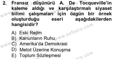 Siyaset Bilimi Dersi 2013 - 2014 Yılı Tek Ders Sınavı 2. Soru