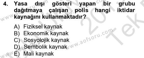 Sosyoloji Bölümü 3. Yarıyıl Siyaset Bilimi Dersi 2014 Yılı Güz Dönemi Tek Ders Sınavı 4. Soru
