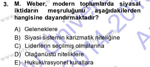Siyaset Bilimi Dersi 2014 - 2015 Yılı Ara Sınavı 3. Soru