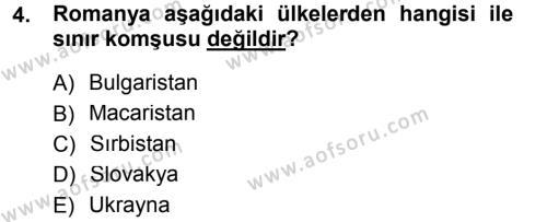 Balkanlar´da Siyaset Dersi 2012 - 2013 Yılı Dönem Sonu Sınavı 4. Soru