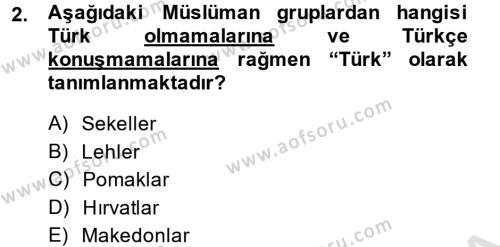 Balkanlar´da Siyaset Dersi 2013 - 2014 Yılı Tek Ders Sınav Soruları 2. Soru