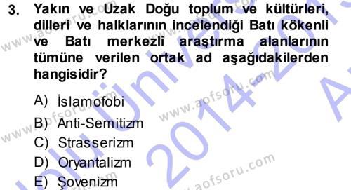 Balkanlar´da Siyaset Dersi 2014 - 2015 Yılı Ara Sınavı 3. Soru