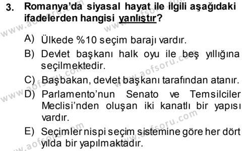 Balkanlar´da Siyaset Dersi 2014 - 2015 Yılı (Final) Dönem Sonu Sınav Soruları 3. Soru