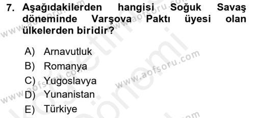 Balkanlar´da Siyaset Dersi 2016 - 2017 Yılı (Final) Dönem Sonu Sınav Soruları 7. Soru