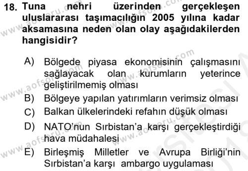 Balkanlar´da Siyaset Dersi 2017 - 2018 Yılı (Final) Dönem Sonu Sınavı 18. Soru