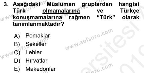 Balkanlar´da Siyaset Dersi 2018 - 2019 Yılı (Vize) Ara Sınav Soruları 3. Soru