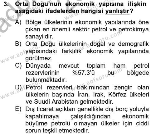 Uluslararası İlişkiler Bölümü 6. Yarıyıl Orta Doğuda Siyaset Dersi 2013 Yılı Bahar Dönemi Ara Sınavı 3. Soru