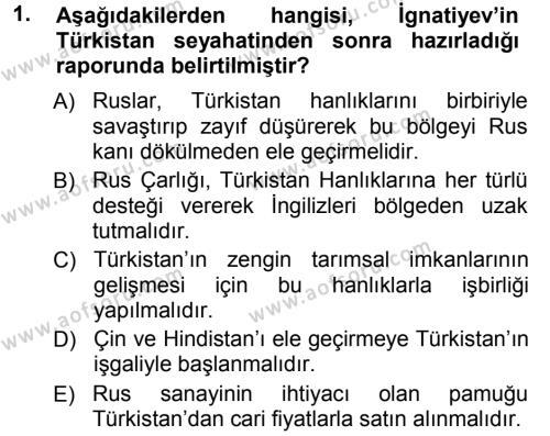 Uluslararası İlişkiler Bölümü 5. Yarıyıl Orta Asya ve Kafkaslarda Siyaset Dersi 2013 Yılı Güz Dönemi Ara Sınavı 1. Soru