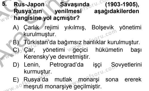 Uluslararası İlişkiler Bölümü 5. Yarıyıl Orta Asya ve Kafkaslarda Siyaset Dersi 2013 Yılı Güz Dönemi Ara Sınavı 5. Soru