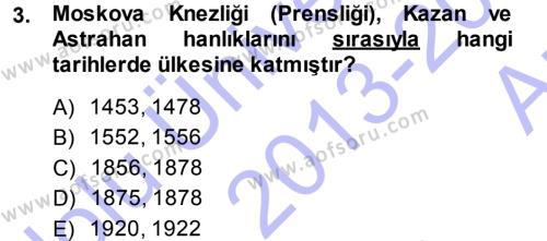 Orta Asya ve Kafkaslarda Siyaset Dersi 2013 - 2014 Yılı (Vize) Ara Sınav Soruları 3. Soru
