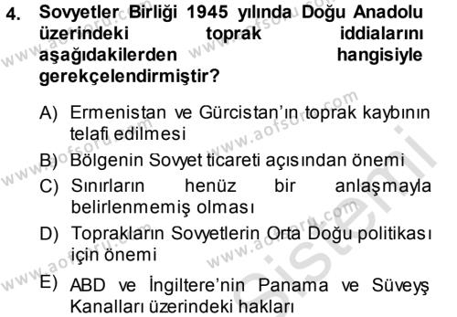 Orta Asya ve Kafkaslarda Siyaset Dersi 2013 - 2014 Yılı Tek Ders Sınavı 4. Soru