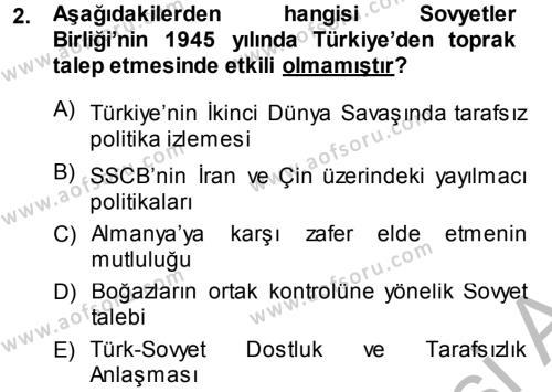 Orta Asya ve Kafkaslarda Siyaset Dersi 2014 - 2015 Yılı Dönem Sonu Sınavı 2. Soru