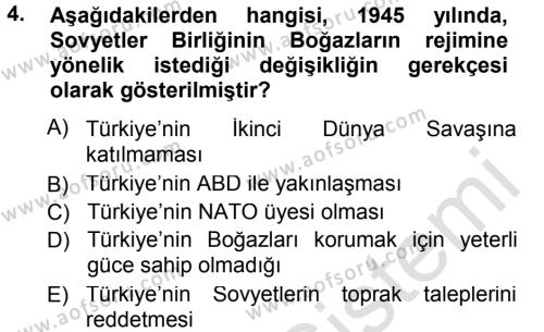 Orta Asya ve Kafkaslarda Siyaset Dersi 2014 - 2015 Yılı Tek Ders Sınav Soruları 4. Soru