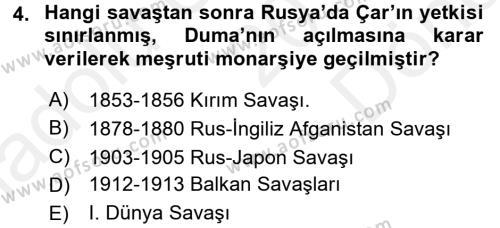 Orta Asya ve Kafkaslarda Siyaset Dersi 2017 - 2018 Yılı (Final) Dönem Sonu Sınav Soruları 4. Soru