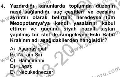 Kültürel Miras ve Turizm Bölümü 4. Yarıyıl Sanat Tarihi Dersi 2014 Yılı Bahar Dönemi Ara Sınavı 4. Soru