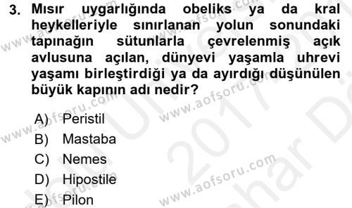 Sanat Tarihi Dersi 2017 - 2018 Yılı (Vize) Ara Sınav Soruları 3. Soru