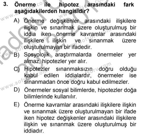Fotoğrafçılık ve Kameramanlık Bölümü 1. Yarıyıl Sosyolojiye Giriş Dersi 2013 Yılı Güz Dönemi Ara Sınavı 3. Soru