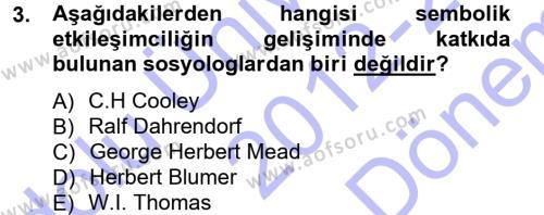 Sosyolojiye Giriş Dersi 2012 - 2013 Yılı Dönem Sonu Sınavı 3. Soru