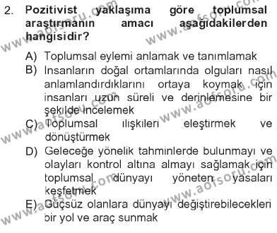 Sosyolojiye Giriş Dersi 2012 - 2013 Yılı Tek Ders Sınavı 2. Soru