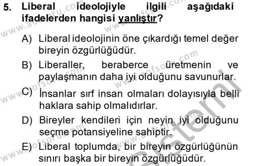 Felsefe Bölümü 1. Yarıyıl Sosyal Bilimlerde Temel Kavramlar Dersi 2015 Yılı Güz Dönemi Dönem Sonu Sınavı 5. Soru