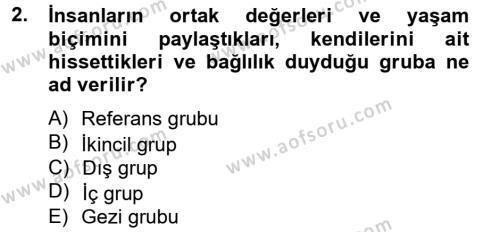 İnsan ve Toplum Dersi 2012 - 2013 Yılı Dönem Sonu Sınavı 2. Soru