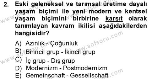 Maliye Bölümü 2. Yarıyıl İnsan ve Toplum Dersi 2014 Yılı Bahar Dönemi Dönem Sonu Sınavı 2. Soru