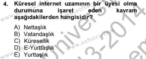 Maliye Bölümü 2. Yarıyıl İnsan ve Toplum Dersi 2014 Yılı Bahar Dönemi Dönem Sonu Sınavı 4. Soru