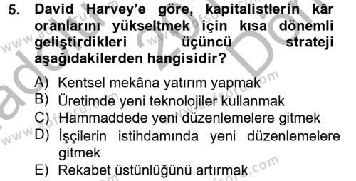 Maliye Bölümü 2. Yarıyıl İnsan ve Toplum Dersi 2014 Yılı Bahar Dönemi Dönem Sonu Sınavı 5. Soru